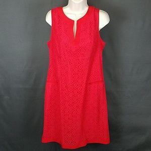 3 for $10- Red Eyelet sheath dress size 10